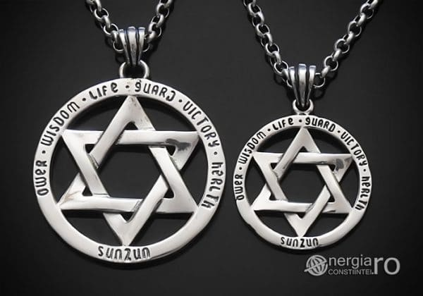 Amuleta-Talisman-Medalion-Colier-Pandant-Pandantiv-Steaua-lui-David-Hexagrama-Argint-PND916-00