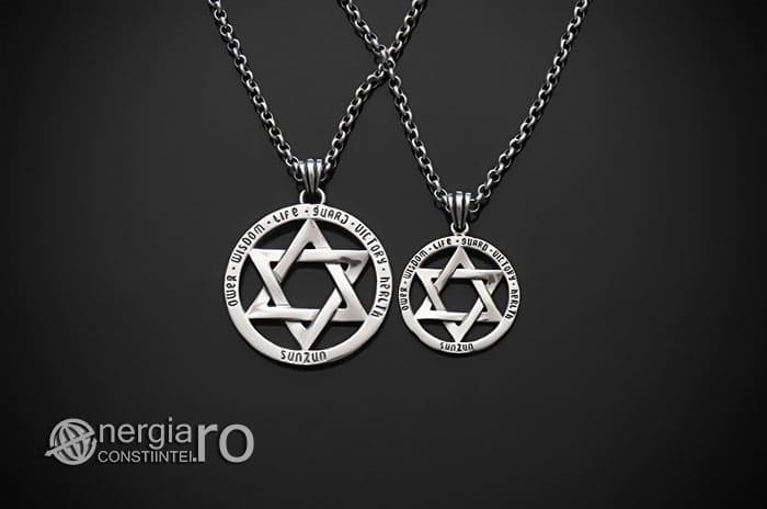 Amuleta-Talisman-Medalion-Colier-Pandant-Pandantiv-Steaua-lui-David-Hexagrama-Argint-PND916-01