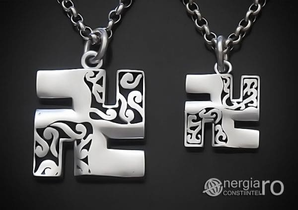 Amuleta-Talisman-Medalion-Colier-Pandant-Pandantiv-Svastica-Ajna-Argint-PND935-00