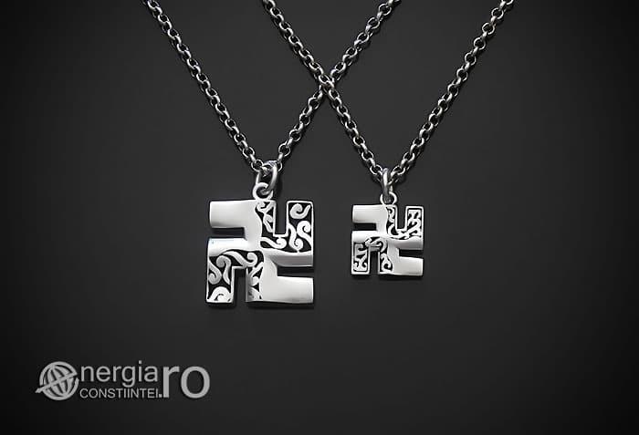 Amuleta-Talisman-Medalion-Colier-Pandant-Pandantiv-Svastica-Ajna-Argint-PND935-01