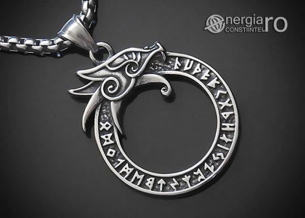 Amuleta-Talisman-Medalion-Colier-Pandant-Pandantiv-Uroborus-Ouroboro-INOX-PND116-00