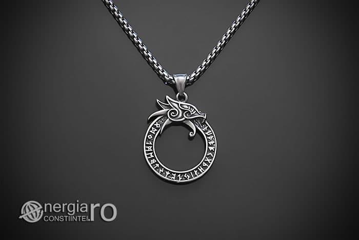 Amuleta-Talisman-Medalion-Colier-Pandant-Pandantiv-Uroborus-Ouroboro-INOX-PND116-01