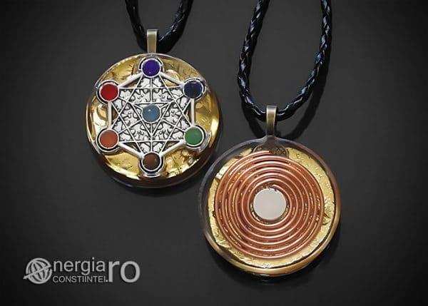 Amuleta-Talisman-Medalion-Colier-Pandant-Pandantiv-Orgonic-Orgon-Cubul-lui-Metatron-Septe-Chakre-Cristale-Spirala-Cupru-Magnet-ORG019-00