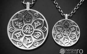Amuleta-Talisman-Medalion-Pandant-Pandantiv-Protector-Protectie-Om-Mani-Padme-Hum-Hindus-Svastica-Argint-PND945-00
