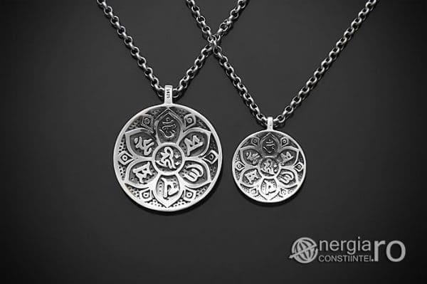 Amuleta-Talisman-Medalion-Pandant-Pandantiv-Protector-Protectie-Om-Mani-Padme-Hum-Hindus-Svastica-Argint-PND945-01
