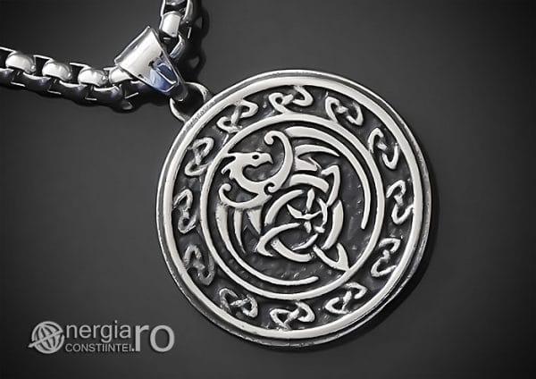 Amuleta-Talisman-Medalion-Colier-Pandant-Pandantiv-Dragon-Triquetra-INOX-PND256-00