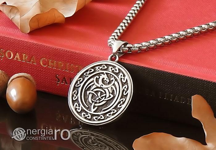 Amuleta-Talisman-Medalion-Colier-Pandant-Pandantiv-Dragon-Triquetra-INOX-PND256-04