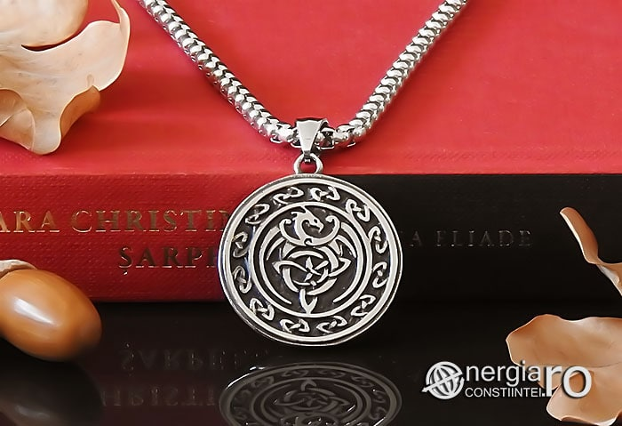 Amuleta-Talisman-Medalion-Colier-Pandant-Pandantiv-Dragon-Triquetra-INOX-PND256-06