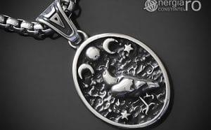 Amuleta-Talisman-Medalion-Colier-Pandant-Pandantiv-Tripla-Zeita-Luna-Roata-Norocului-Corb-Cioara-INOX-PND270-00