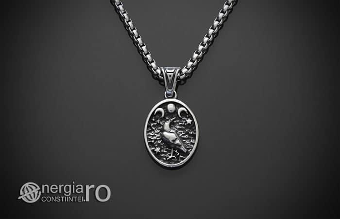 Amuleta-Talisman-Medalion-Colier-Pandant-Pandantiv-Tripla-Zeita-Luna-Roata-Norocului-Corb-Cioara-INOX-PND270-01