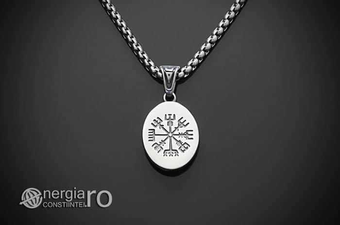 Amuleta-Talisman-Medalion-Colier-Pandant-Pandantiv-Tripla-Zeita-Luna-Roata-Norocului-Corb-Cioara-INOX-PND270-02