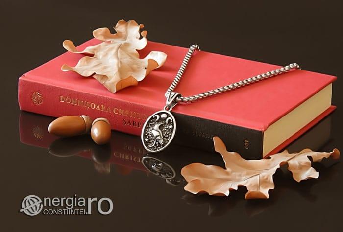 Amuleta-Talisman-Medalion-Colier-Pandant-Pandantiv-Tripla-Zeita-Luna-Roata-Norocului-Corb-Cioara-INOX-PND270-03
