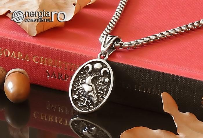 Amuleta-Talisman-Medalion-Colier-Pandant-Pandantiv-Tripla-Zeita-Luna-Roata-Norocului-Corb-Cioara-INOX-PND270-04