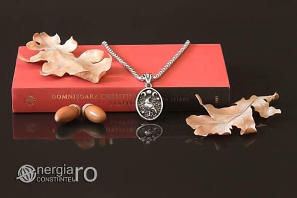 Amuleta-Talisman-Medalion-Colier-Pandant-Pandantiv-Tripla-Zeita-Luna-Roata-Norocului-Corb-Cioara-INOX-PND270-05