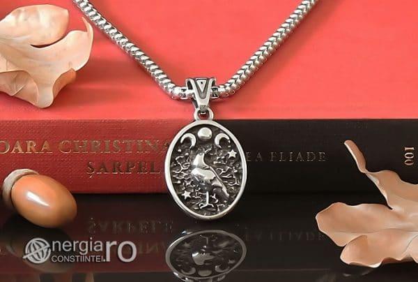 Amuleta-Talisman-Medalion-Colier-Pandant-Pandantiv-Tripla-Zeita-Luna-Roata-Norocului-Corb-Cioara-INOX-PND270-06