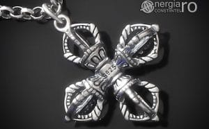 amuleta-talisman-medalion-colier-pandant-pandantiv-cruce-dublu-vajra-dorje-argint-PND955-00