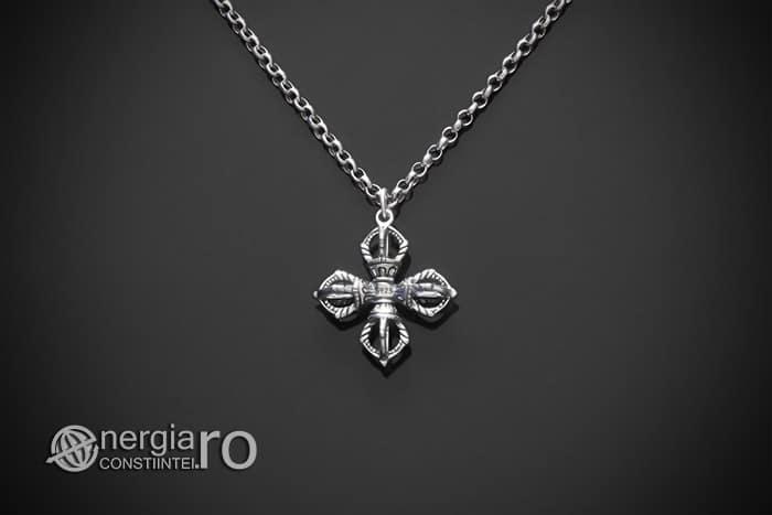 amuleta-talisman-medalion-colier-pandant-pandantiv-cruce-dublu-vajra-dorje-argint-PND955-01