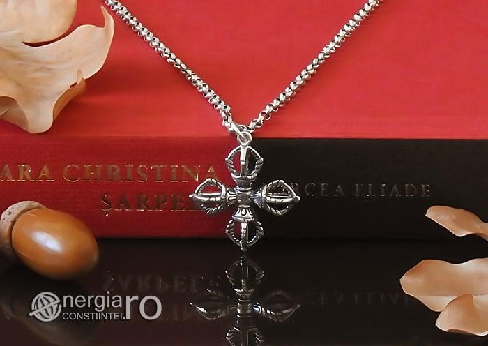 amuleta-talisman-medalion-colier-pandant-pandantiv-cruce-dublu-vajra-dorje-argint-PND955-05