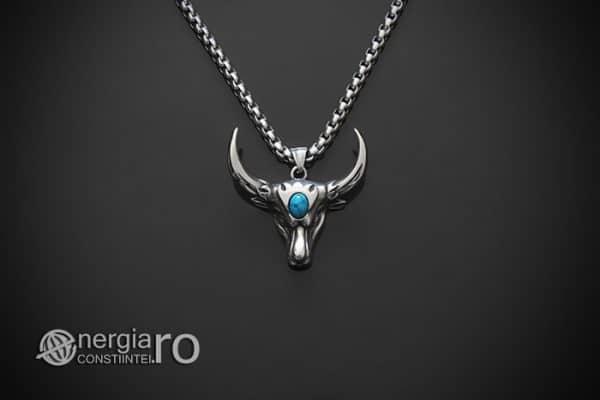 amuleta-talisman-medalion-colier-pandant-pandantiv-cap-de-bour-taur-bou-cristal-turcoaz-protector-protectie-curaj-inox-PND252-01
