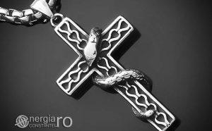 amuleta-talisman-medalion-colier-pandant-pandantiv-sarpe-incolacit-pe-cruce-cruciulita-inox-PND221-00